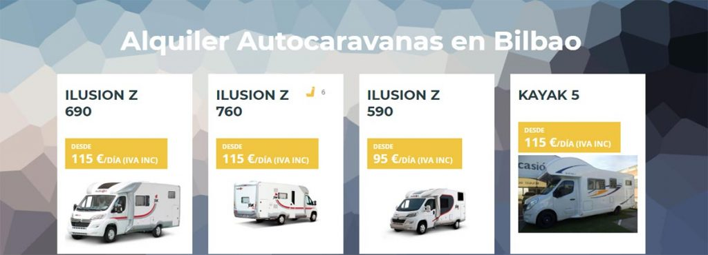 dónde alquilar autocaravana en Bilbao o Bizkaia